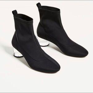 Zara Ankle Boots w/ Methacrylate Clear Heel